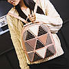 Женский рюкзак с аппликацией в треугольники 01544867268142black черный, фото 7