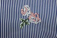Ткань рубашка полоса с вышивкой, цветок Тренд сезона №2 80%ХБ,20%ПЭ