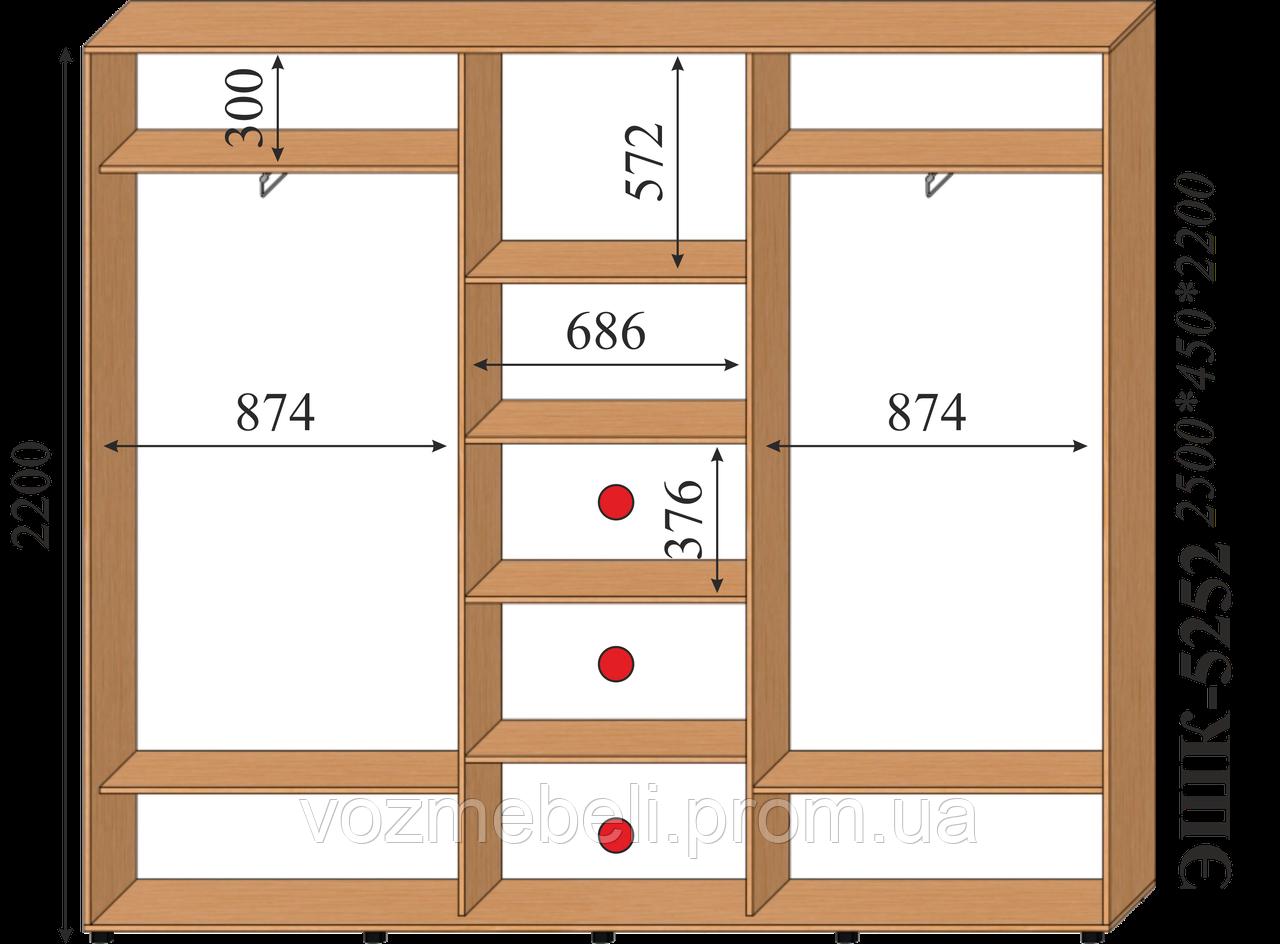 Шкаф-купе 2,5*0,45*2,2 ЭШК-5252