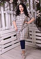 Рубашка-туника в клетку для пышных женщин, с 48-82 размер, фото 1