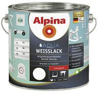 Водоразбавляемая белая эмаль Alpina Aqualack