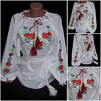 """Белая девичья вышиванка """"Маки с васильками"""", ткань - поплин, рост 140-170 см, 220/180 (цена за 1 шт. + 40 гр.)"""