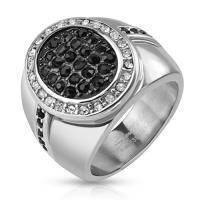Стальное кольцо с плоским овальным верхом R-H5579