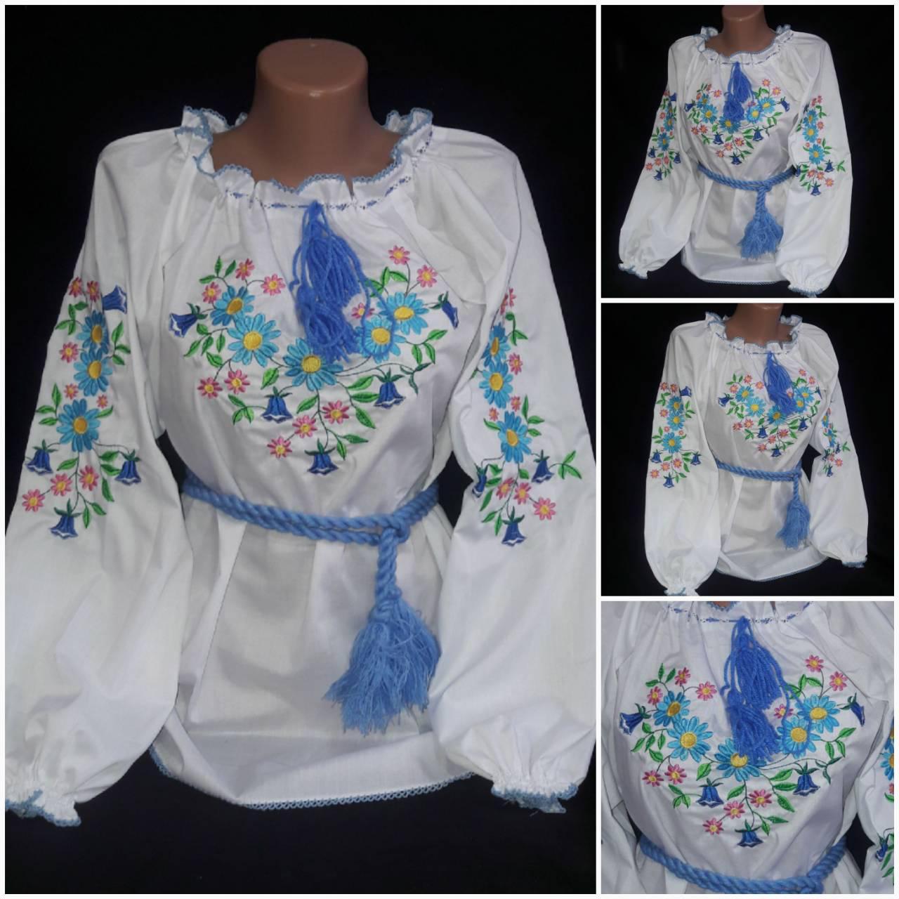 Нарядная детская блуза с вышивкой  на поплине, рост 98-134 см, 220/190 (цена за 1 шт. + 30 гр.)
