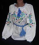 Нарядная детская блуза с вышивкой  на поплине, рост 98-134 см, 220/190 (цена за 1 шт. + 30 гр.), фото 2