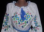 Нарядная детская блуза с вышивкой  на поплине, рост 98-134 см, 220/190 (цена за 1 шт. + 30 гр.), фото 3