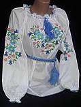 Нарядная детская блуза с вышивкой  на поплине, рост 98-134 см, 220/190 (цена за 1 шт. + 30 гр.), фото 4