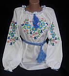 Нарядная детская блуза с вышивкой  на поплине, рост 98-134 см, 220/190 (цена за 1 шт. + 30 гр.), фото 5