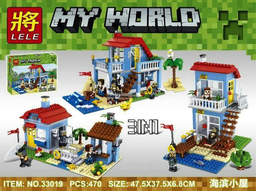 Конструктор Lele 33019 Minecraft Майнкрафт Домик на морском побережье  470 дет