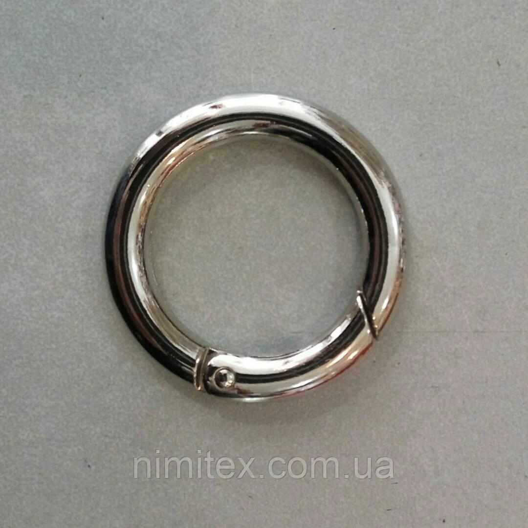 Кольцо-карабин 25 мм никель