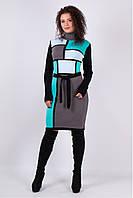 Вязаное женское платье  Кубики. Графит+Мята, фото 1