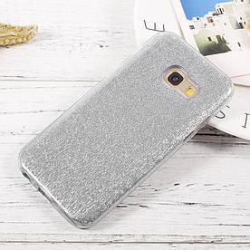 Чехол накладка для Samsung Galaxy A3 2017 A320 силиконовый 3-в-1, Fashion Case GLITTER, Серебристый