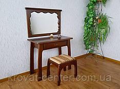 """Туалетный столик для спальни """"Версаль"""" (столик, пуфик, зеркало). Массив - ольха. Покрытие № 462."""