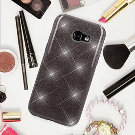 Чехол накладка для Samsung Galaxy A3 2017 A320 силиконовый 3-в-1, Fashion Case GLITTER, Черный