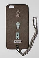 Чехол на iPhone 6 Plus/6s Plus с ремешком и мишками. Чехол на айфон 6+/6s+.