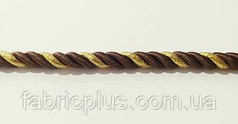 Шнур мебельный 10 мм коричневый/золото люрекс