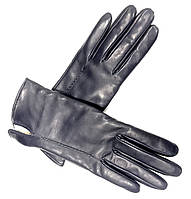 L012Ital Тёмно-синие Перчатки женские кожа кашемир зимние