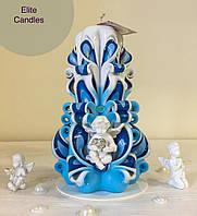 Свеча с ангелочком, нежного цвета для декора или подарка