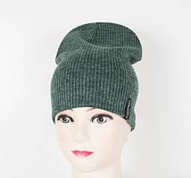 Теплая шапочка зеленого цвета