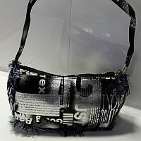 Вместительная женская серебристо-черная косметичка 13х23 см, фото 1