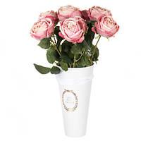Конусная-белая коробка для цветов ( картон )