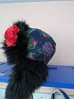 Детская зимняя шапка -ушанка для девочек Dembohouse 50р-56р