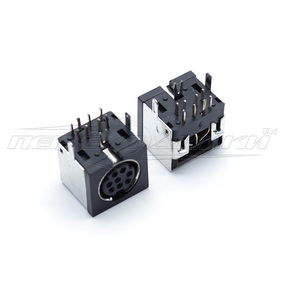 Разъем гнездо mini DIN 8 pin монтажное на плату (пластик)