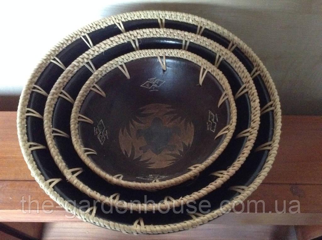 Набор керамических мисок с ротанговой оплеткой (3 шт.)