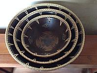 Набор керамических мисок с ротанговой оплеткой (3 шт.), фото 1