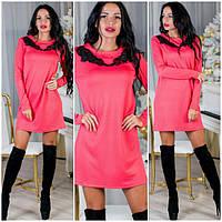 Модное платье из фукры декор кружево DH-002.001.050