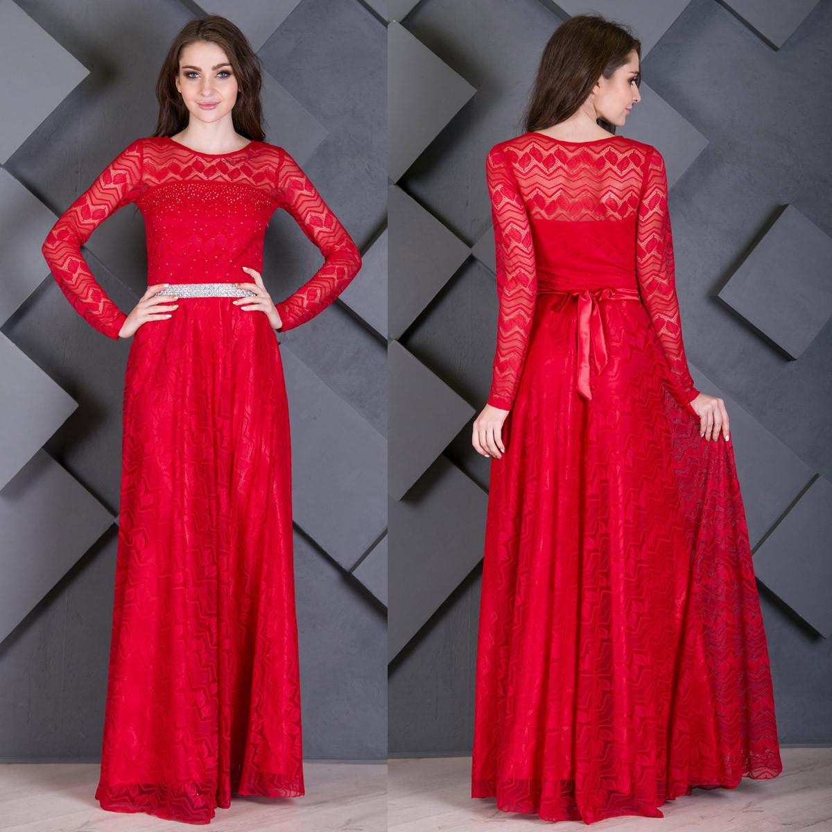 3f105e9363e Элегантное вечернее красное платье в пол из гипюра