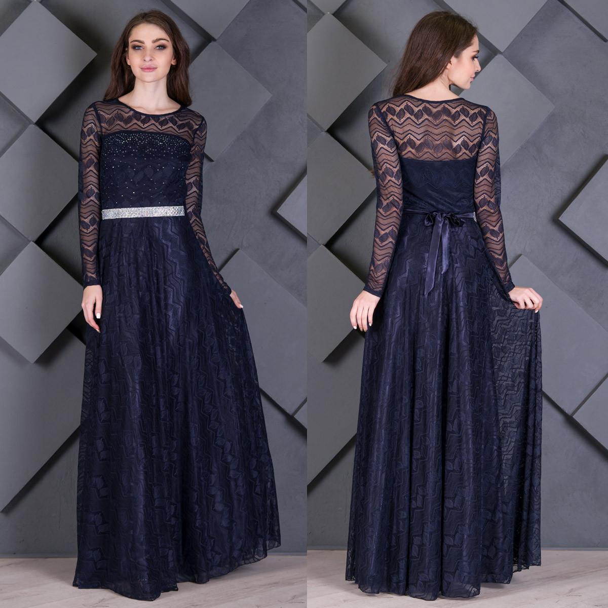 """Длинное синее вечернее платье гипюровое """"Мила"""""""