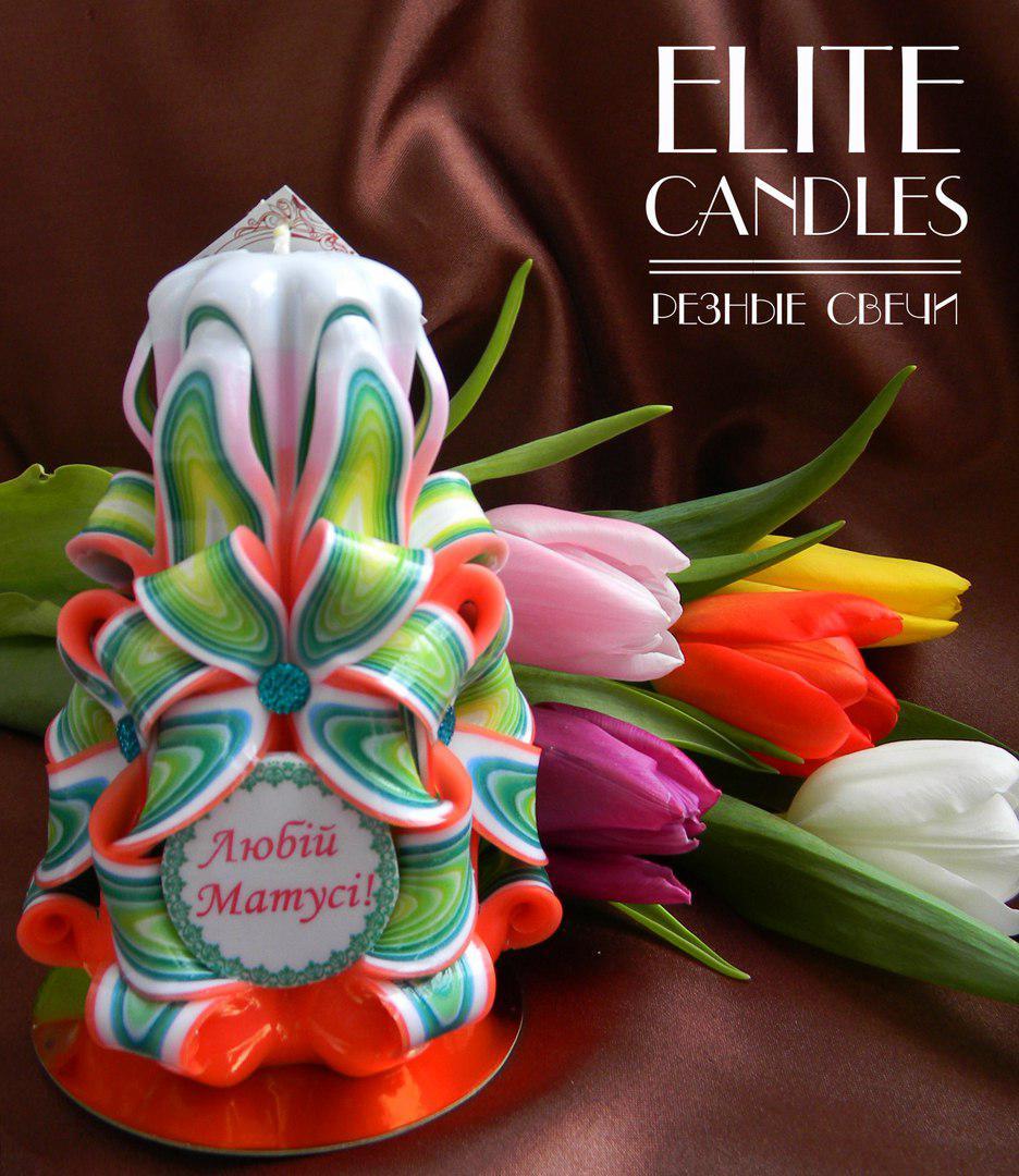 Красивая  резная свеча в подарок маме