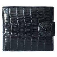 Эксклюзивное мужское портмоне из настоящей кожи крокодила в черном цвете (1001. ALM 99T Black)