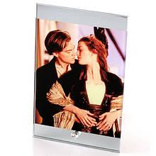 Стеклянная фоторамка с зеркальными краями (15х23 см) с Вашим дизайном
