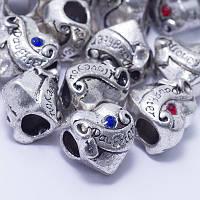 Шармы металлические со стразами сердце 12х12х10мм, цвет античное серебро УТ0027203