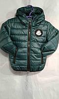 Куртка зимняя для мальчика на 2-6 с капюшоном темно зеленого цвета оптом