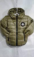 Куртка зимняя для мальчика на 2-6 с капюшоном оливкового цвета оптом