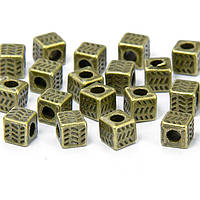 Бусины разделители металлические, кубик, цвет бронза УТ100008590