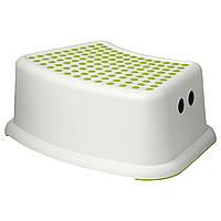 IKEA FORSIKTIG Табурет-лестница, белый, зеленый  (602.484.18)