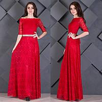 """Красное гипюровое вечернее платье в пол """"Грация"""""""