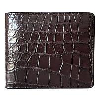 Эксклюзивное мужское портмоне из настоящей кожи крокодила в коричневом цвете (1004a. ALM 03 B Brown)