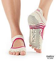 Нескользящие носки для йоги с открытыми пальцами Grip Half Toe Bellarina, белый, Ritual, Medium р. 39-42,5