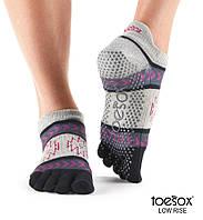 Нескользящие носки для йоги с закрытыми пальцами Grip Full Toe Low Rise, чёрный/серый, Moonshadow, Small р. 36-38,5