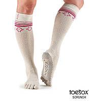 Нескользящие носки для йоги с закрытыми пальцами Grip Full Toe Scrunch Knee High, белый, Ritual, Medium р. 39-42,5