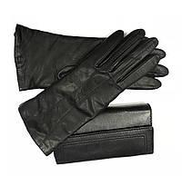 L010 Чёрные Перчатки женские кожа кашемир зимние