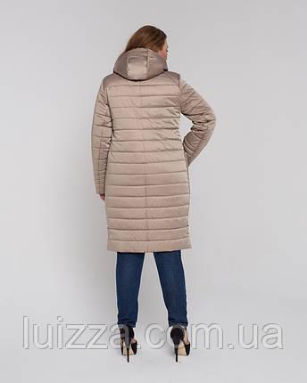Женская стеганая куртка из атласа 46-58р  золотая, фото 2