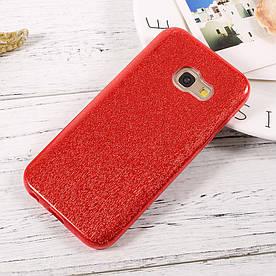 Чехол накладка для Samsung Galaxy A7 2017 силиконовый 3-в-1, Fashion Case GLITTER, Красный