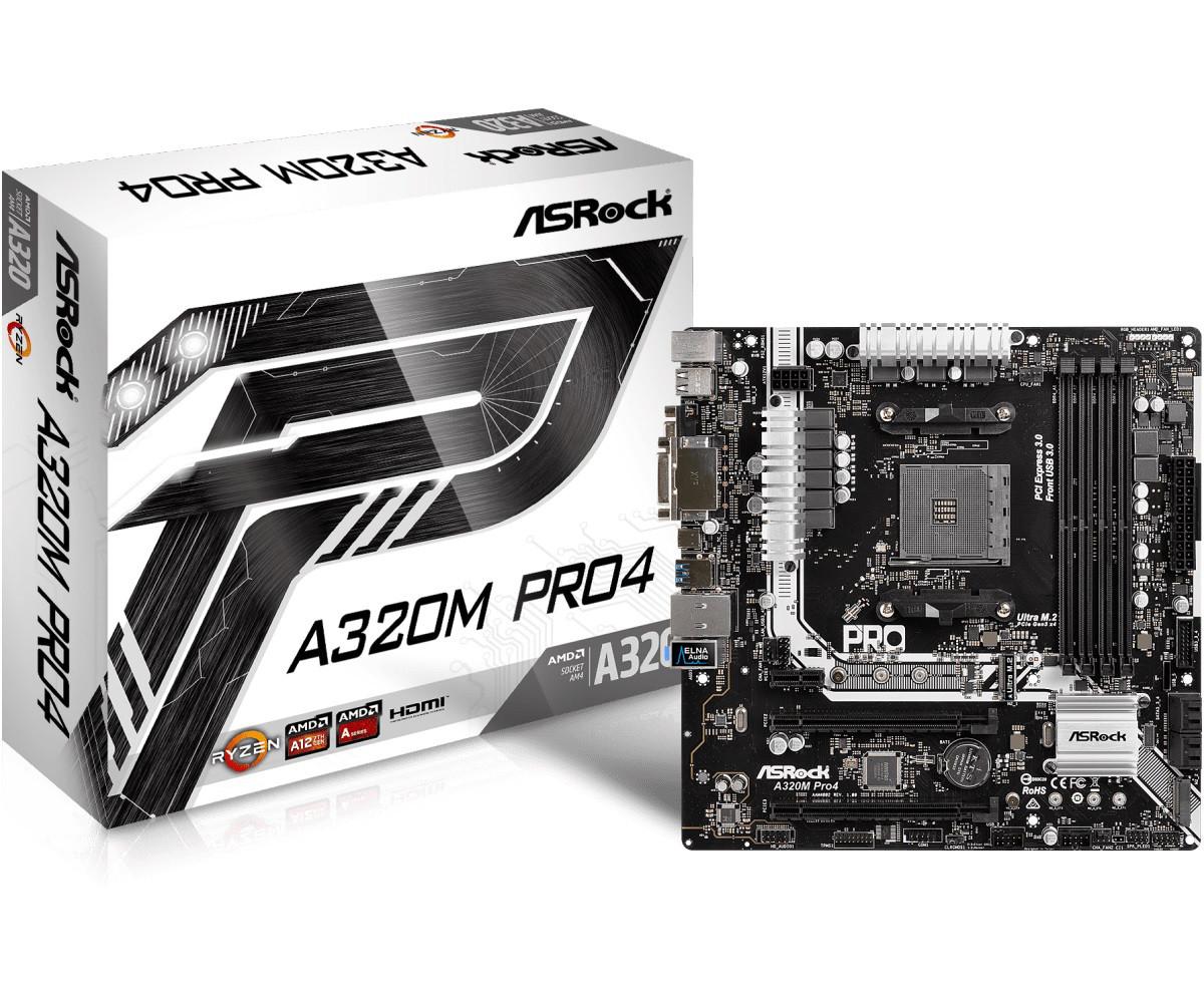 "Материнская плата ASRock A320M Pro4 AM4 DDR4 ""Over-Stock"""
