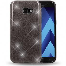 Чехол накладка для Samsung Galaxy A7 2017 силиконовый 3-в-1, Fashion Case GLITTER, Черный